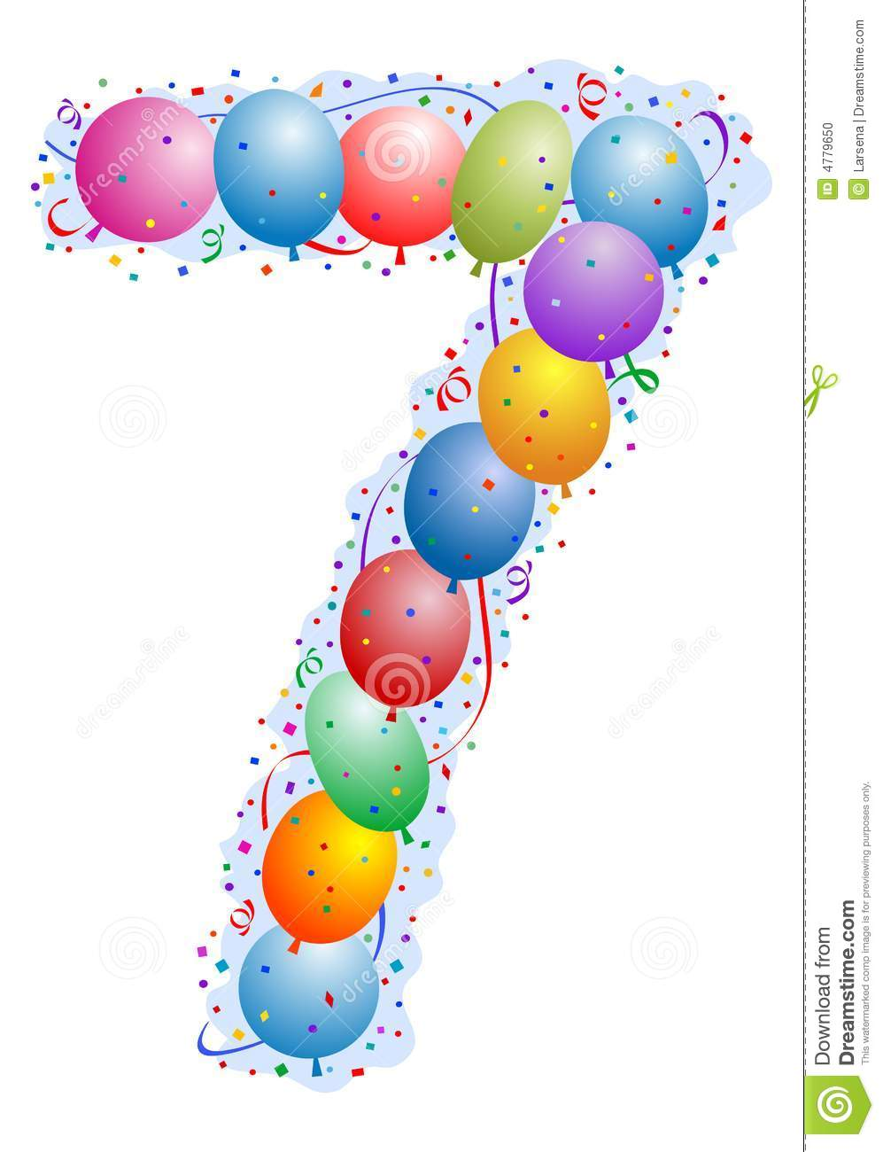 balloons and confetti number 7 stock vector