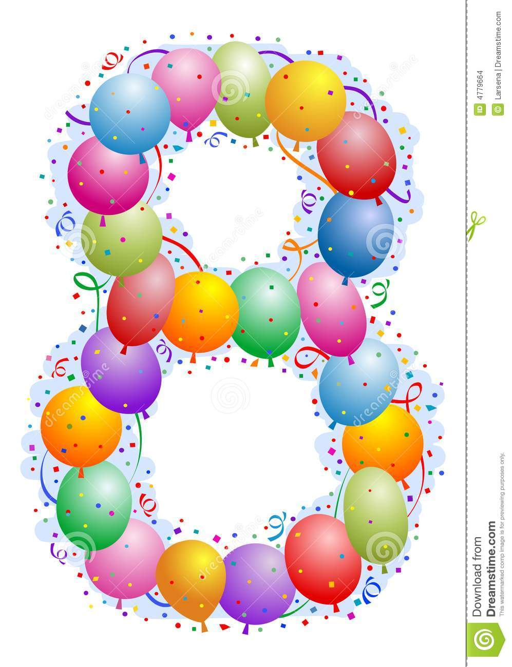 Balloons And Confetti Number 8 Stock Images - Image: 4779664