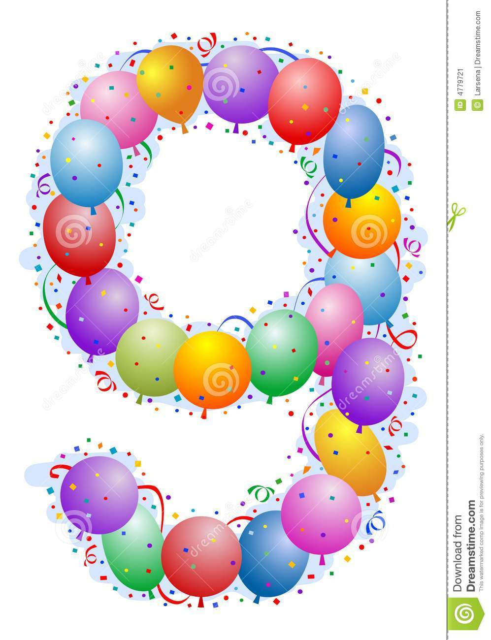 Balloons And Confetti Number 9 Stock Image - Image: 4779721