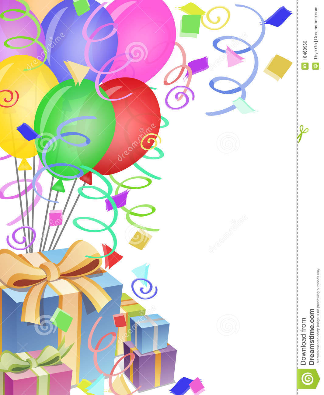 Balloons Confetti Presents For Birthday Party Stock