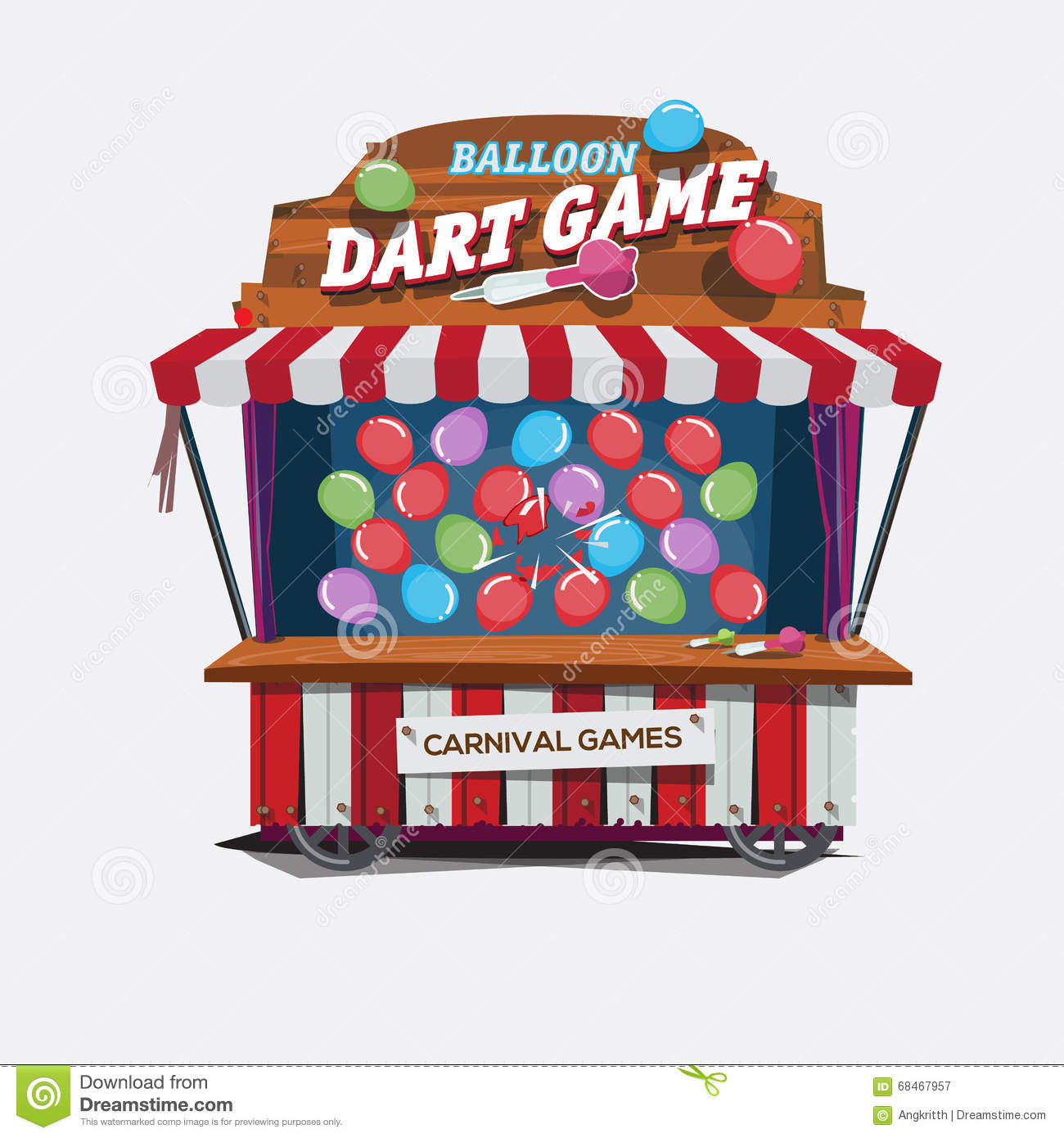 Balloons Dart Game Carnival Cart Concept Stock Image Image Of