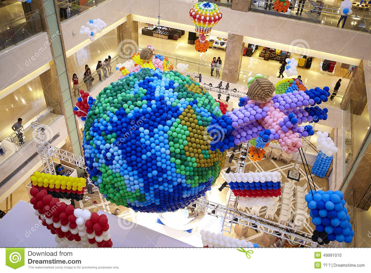 Balloons Decoration At Mall Gallery Earth Country Flag Fire Balloon