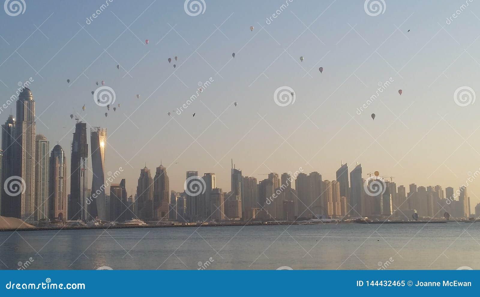 Hot air Balloons Dubai skyline buildings