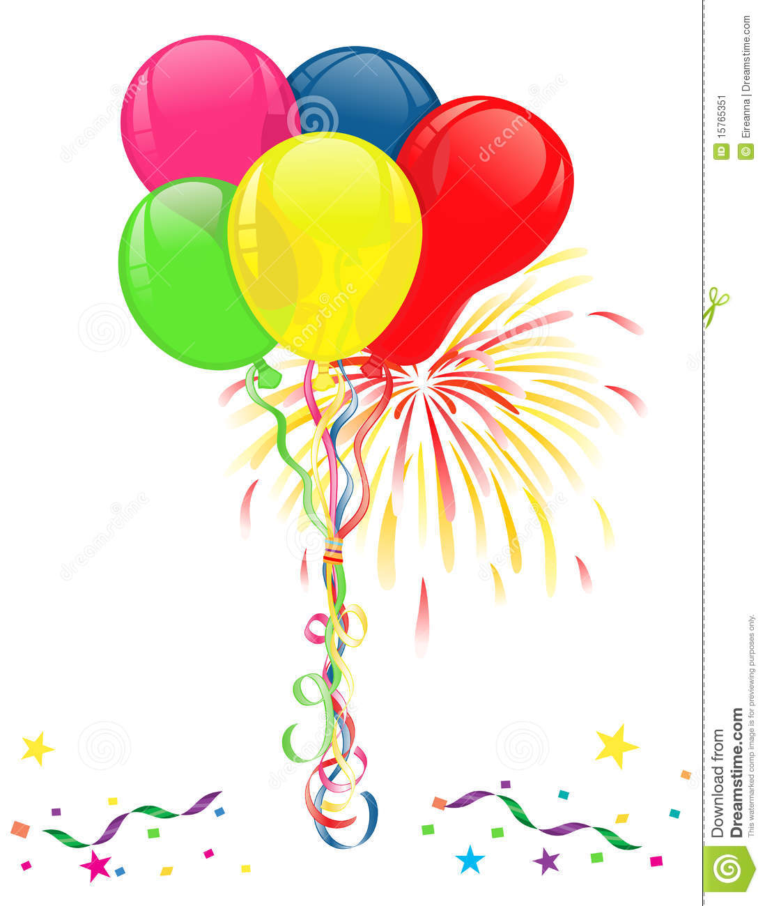 Balloons And Fireworks For Celebrations Stock Image - Image: 15765351