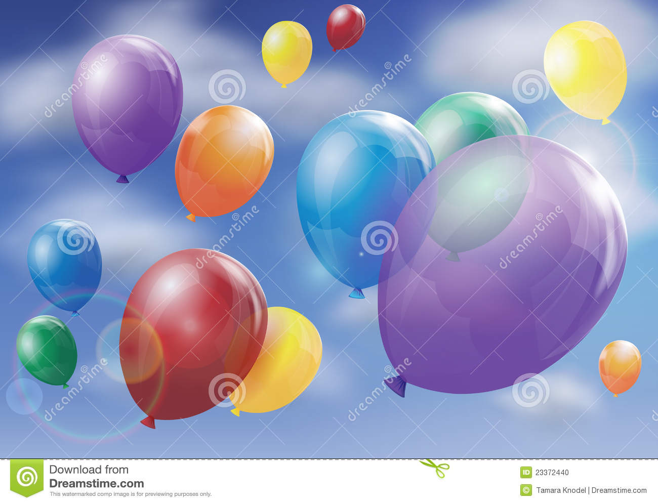 Balloons Floating In Sky Stock Photo - Image: 23372440