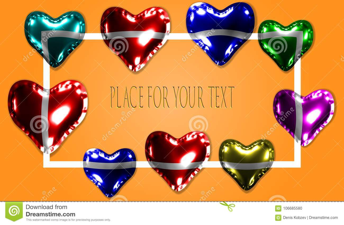 balloons in the form of a heart made of glossy material template