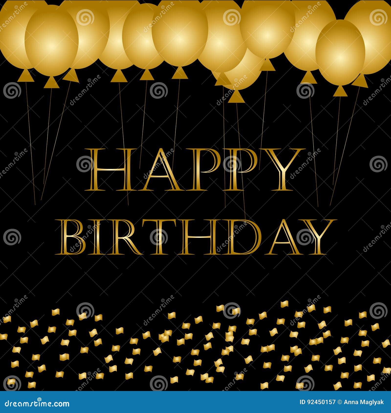 Balloons Happy Birthday On Black. Gold Balloon Sparkles