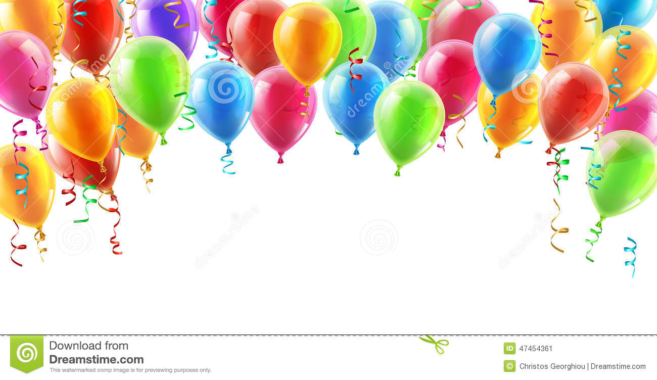 Balloons Header Background Design Element Of Birthday Or Party