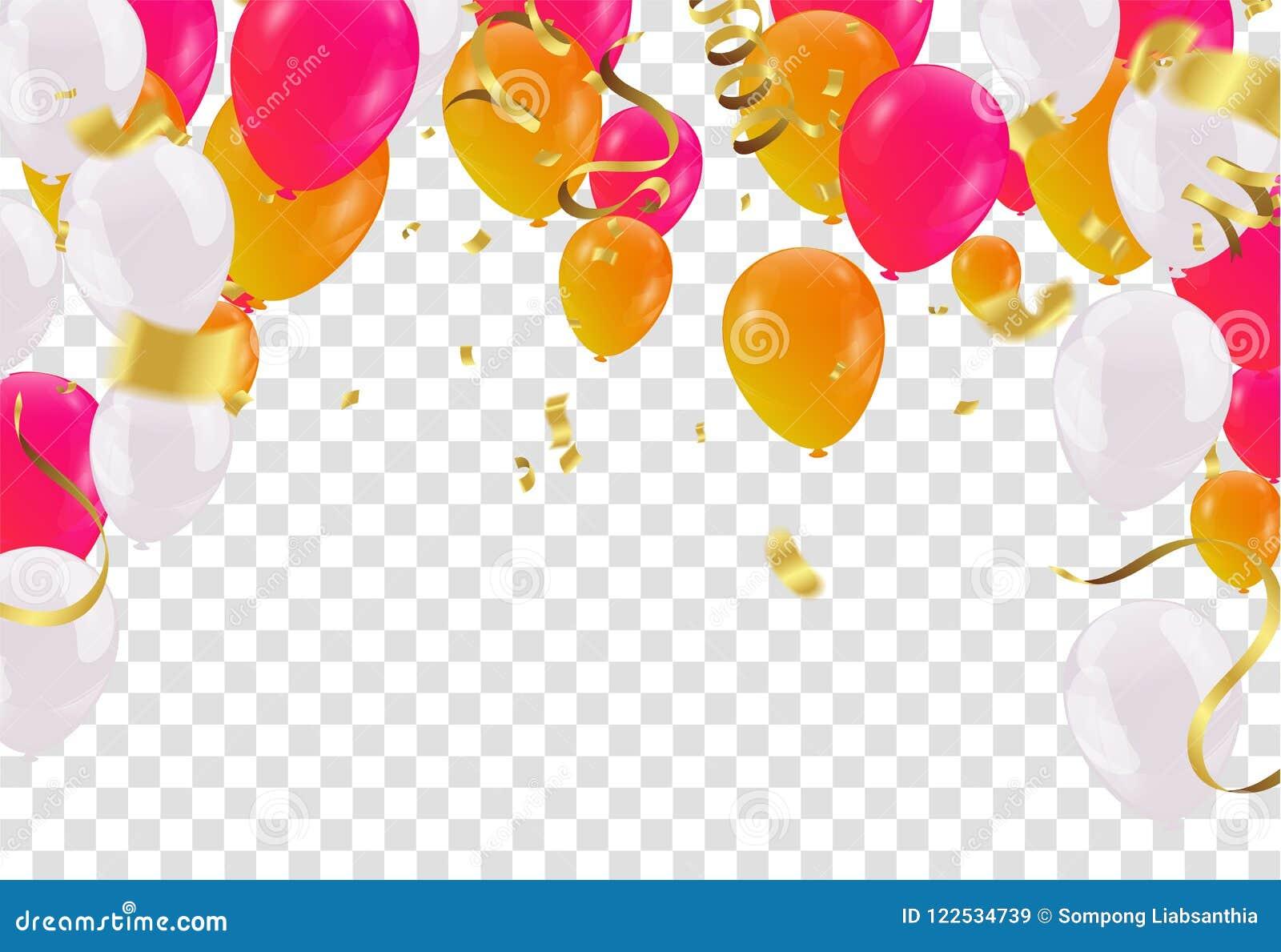Balloons Header Background Design Element Of Birthday Or