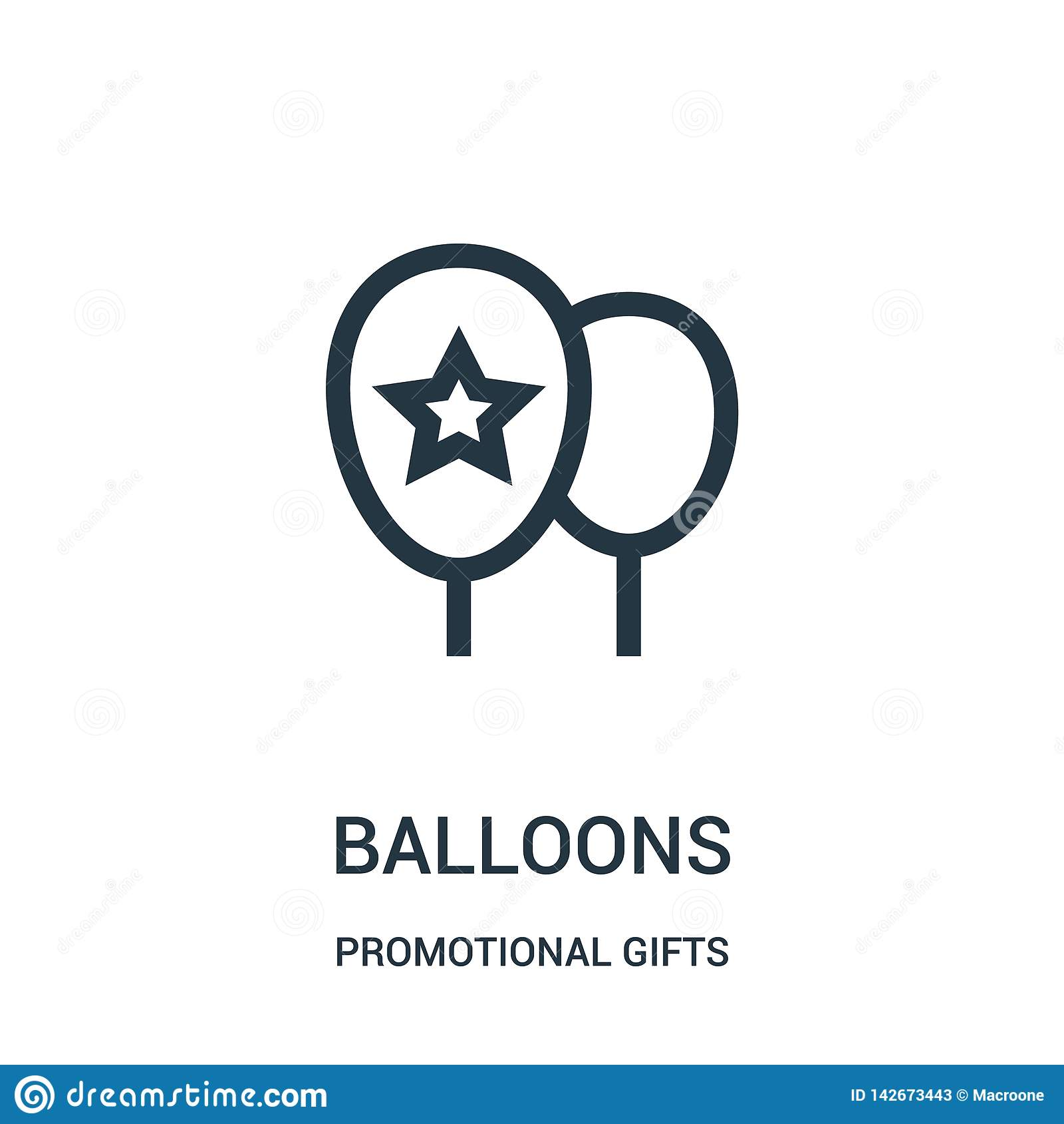 balloons icon vector from promotional gifts collection. Thin line balloons outline icon vector illustration. Linear symbol for use