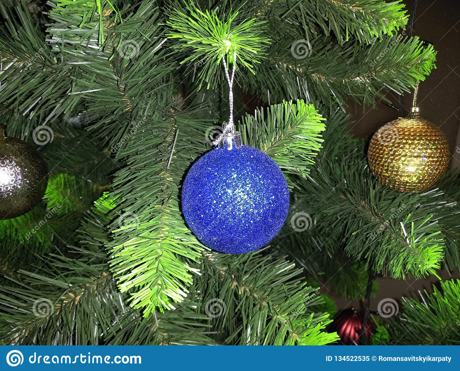Balloons With Lights On Christmas Trees Stock Image Image Of Trees Lights 134522535