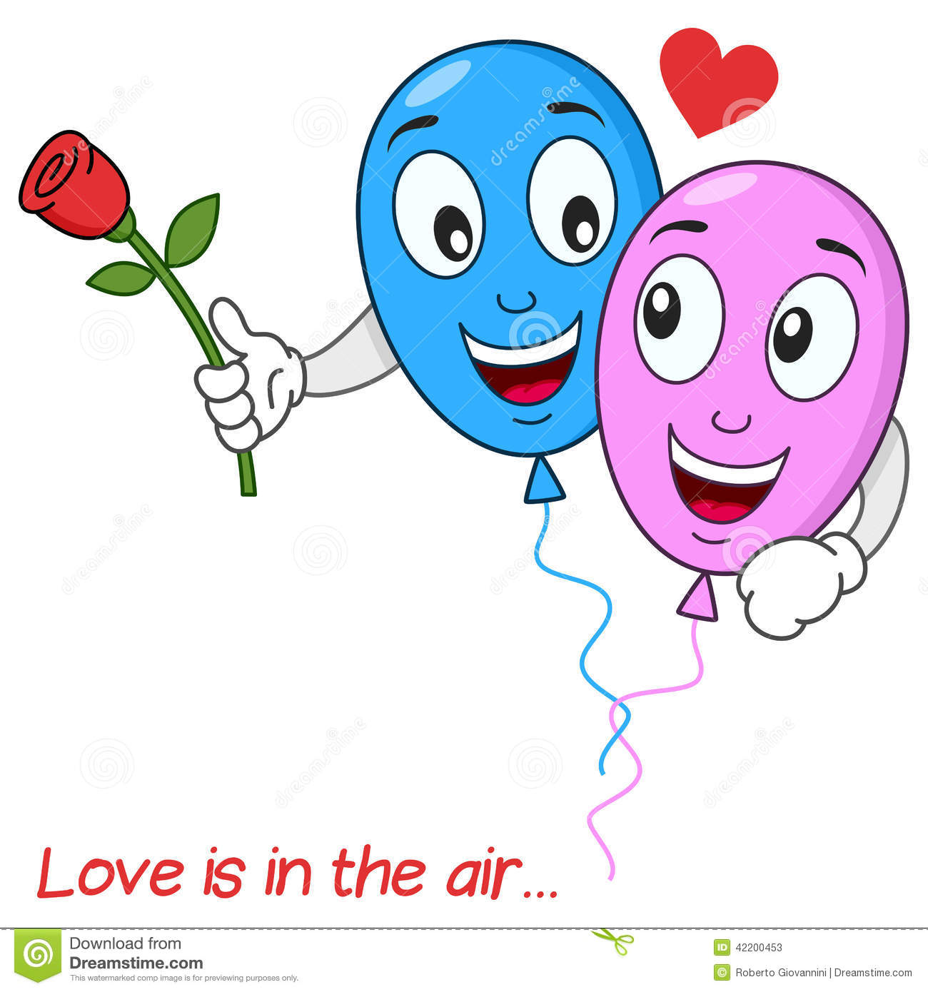 Cartoon Characters Love : Balloons lovers in love flying the air stock vector