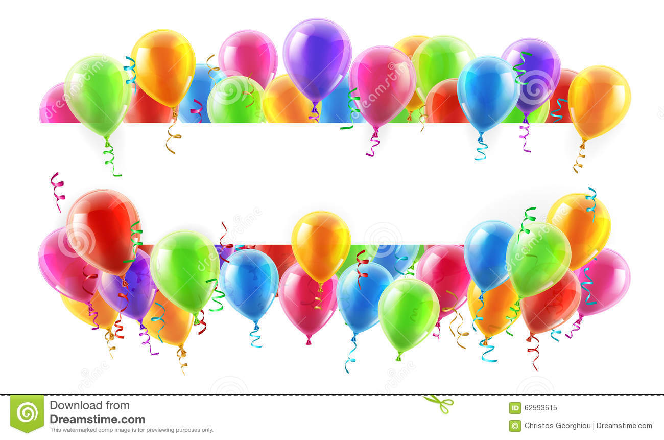 Balloons Party Banner stock vector. Image of isolated ...
