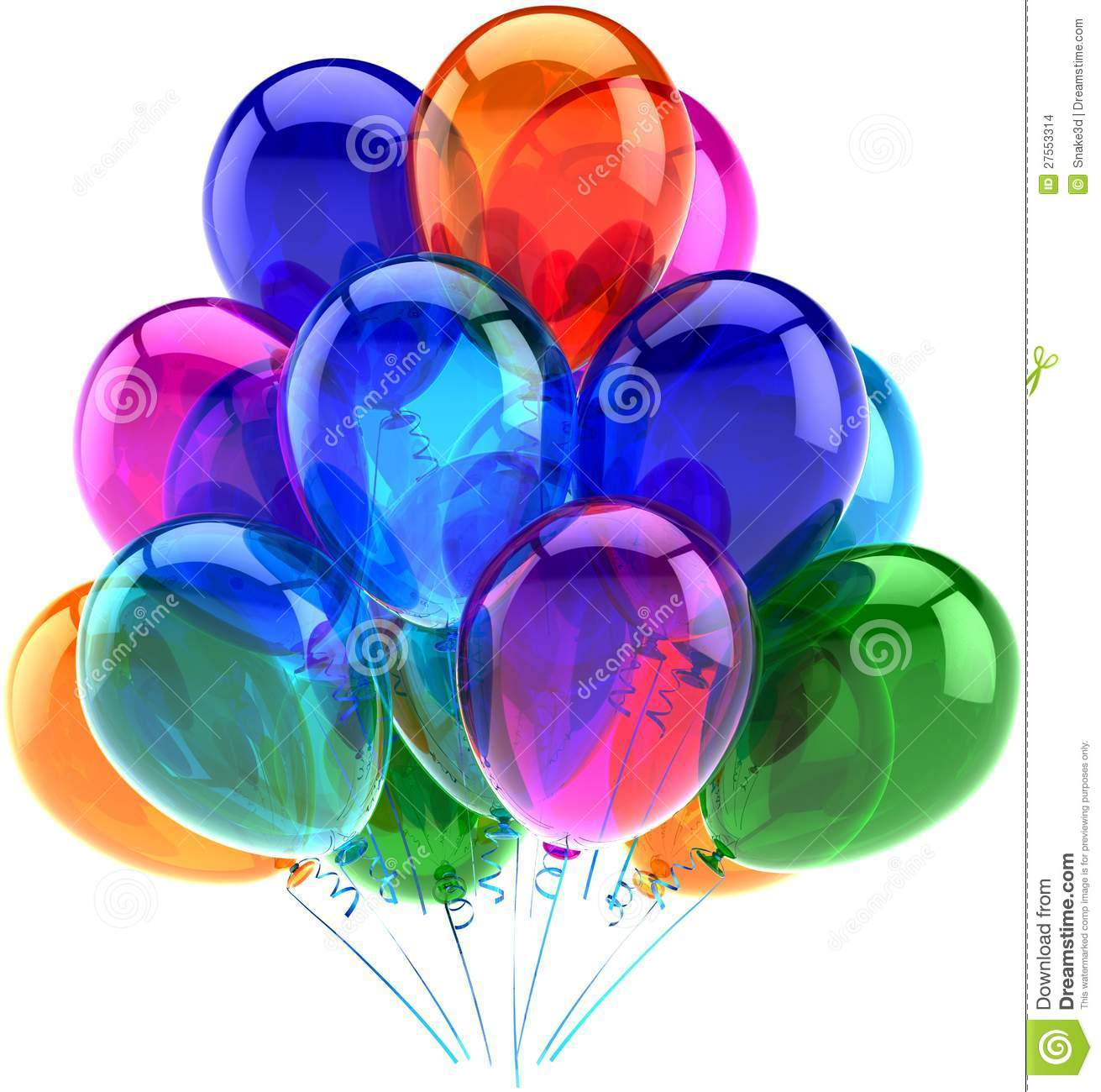 Balloons Party Happy Birthday Decoration Colorful Stock