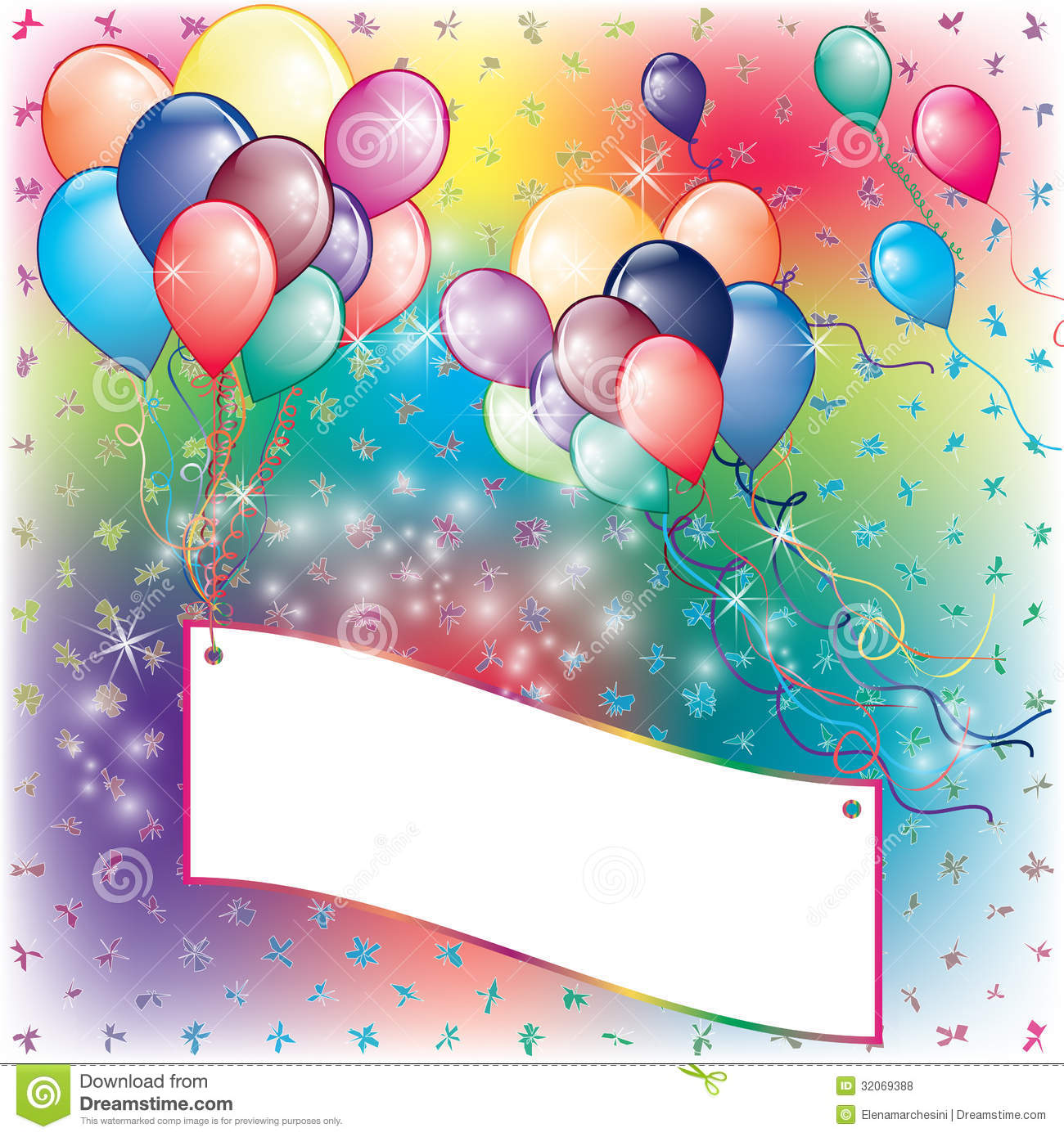 Balloons Party Invitation Card With Falling Board Royalty