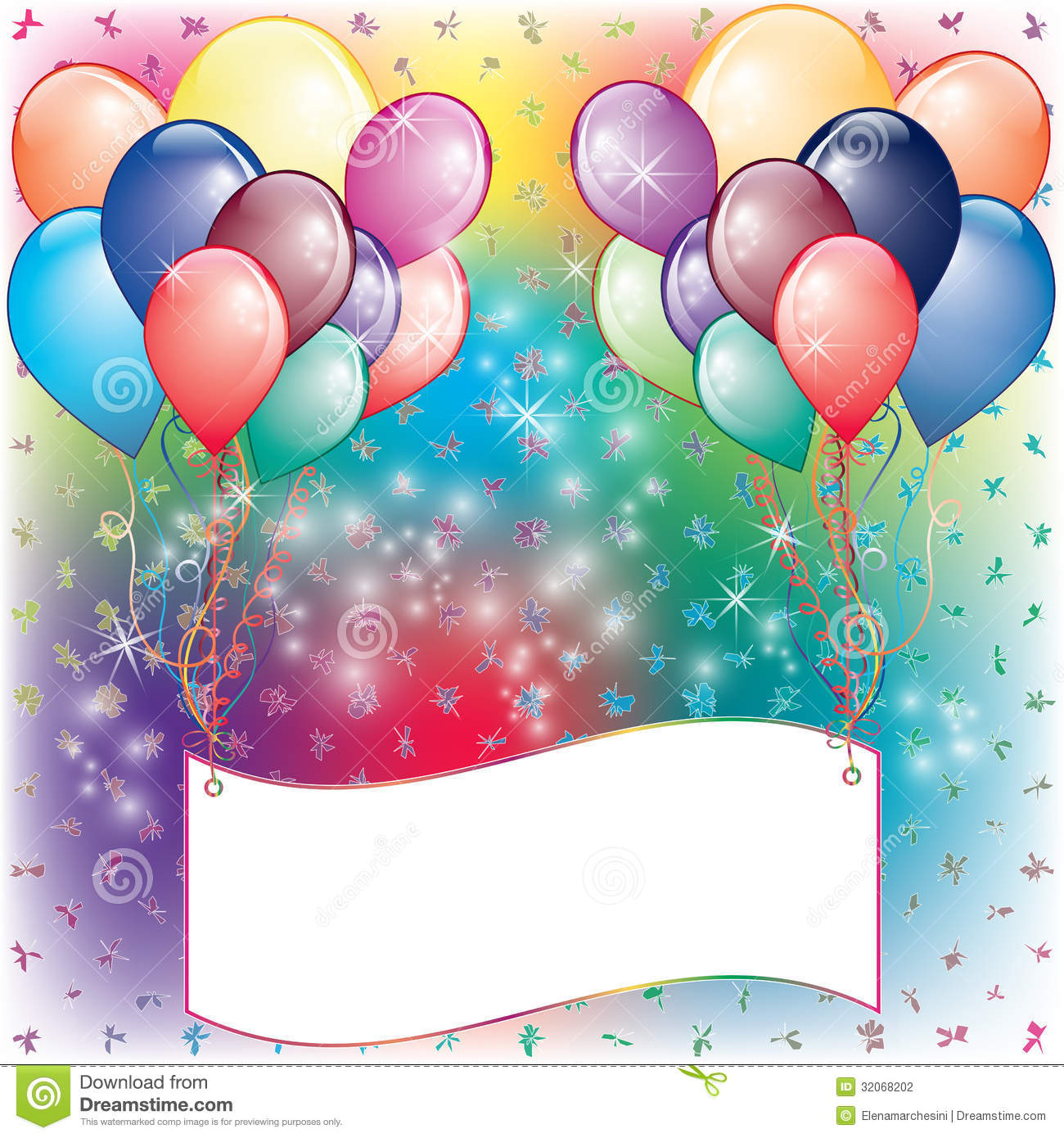 Balloons Party Invitation Card Stock Photography - Image: 32068202