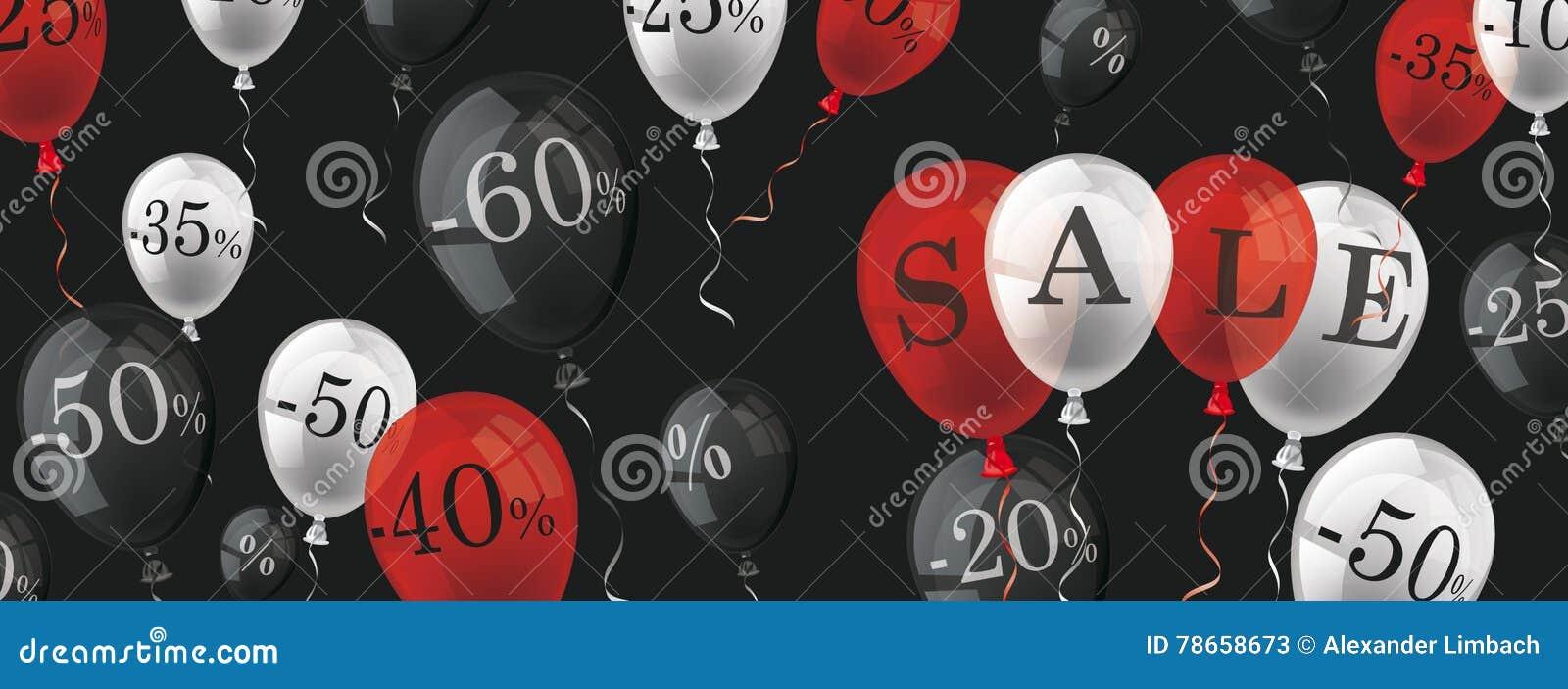 Balloons Percents Sale Black Header