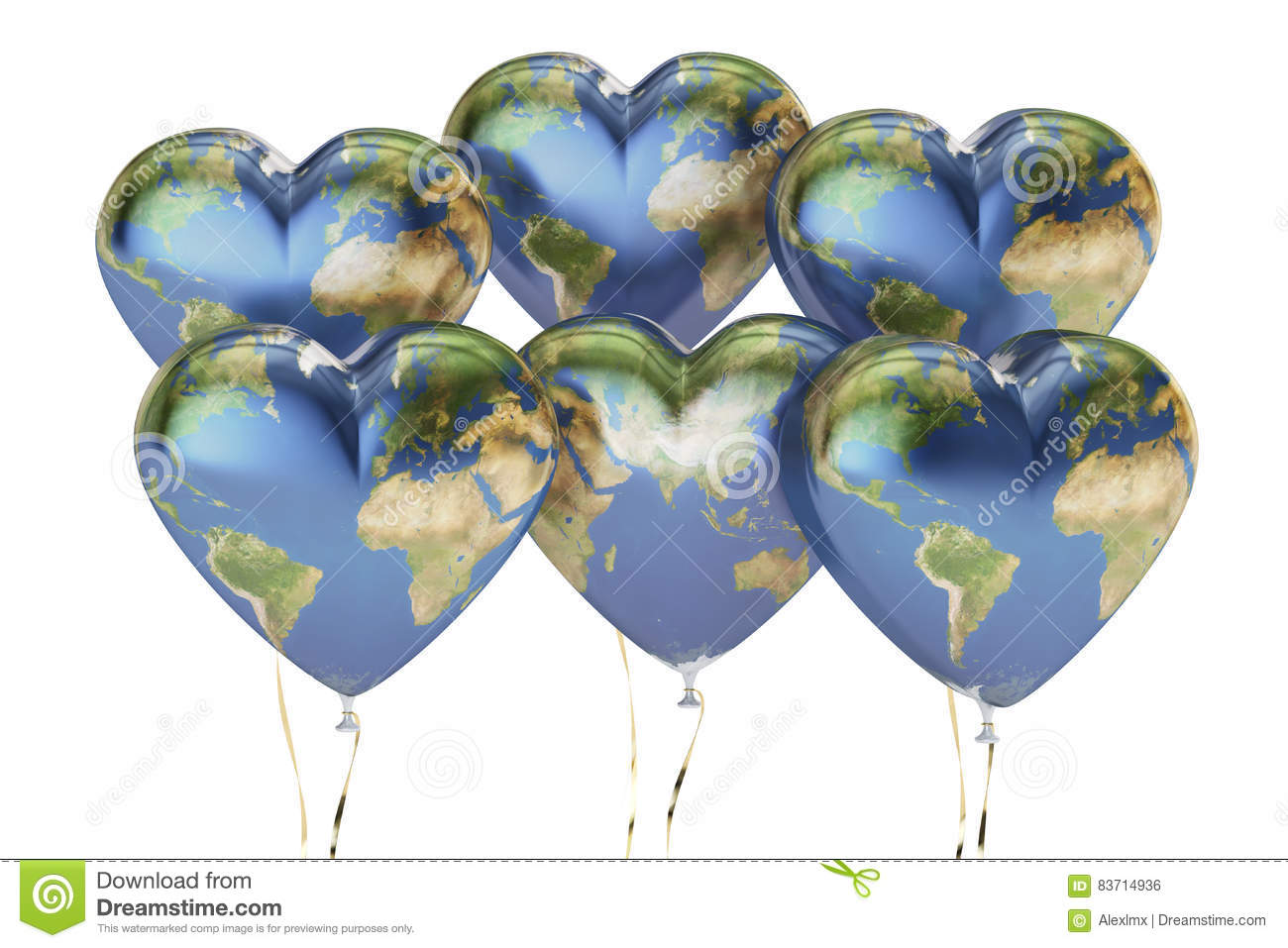 Balloons In The Shape Of Hearts With Map Of Earth, 3D Rendering Stock Illustration