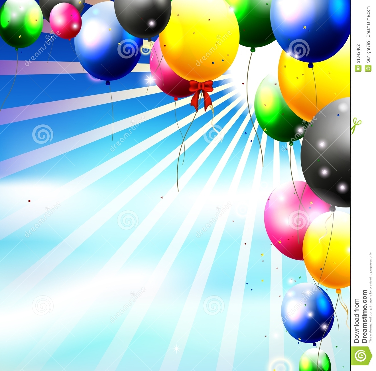 balloons in the sky for birthday background stock