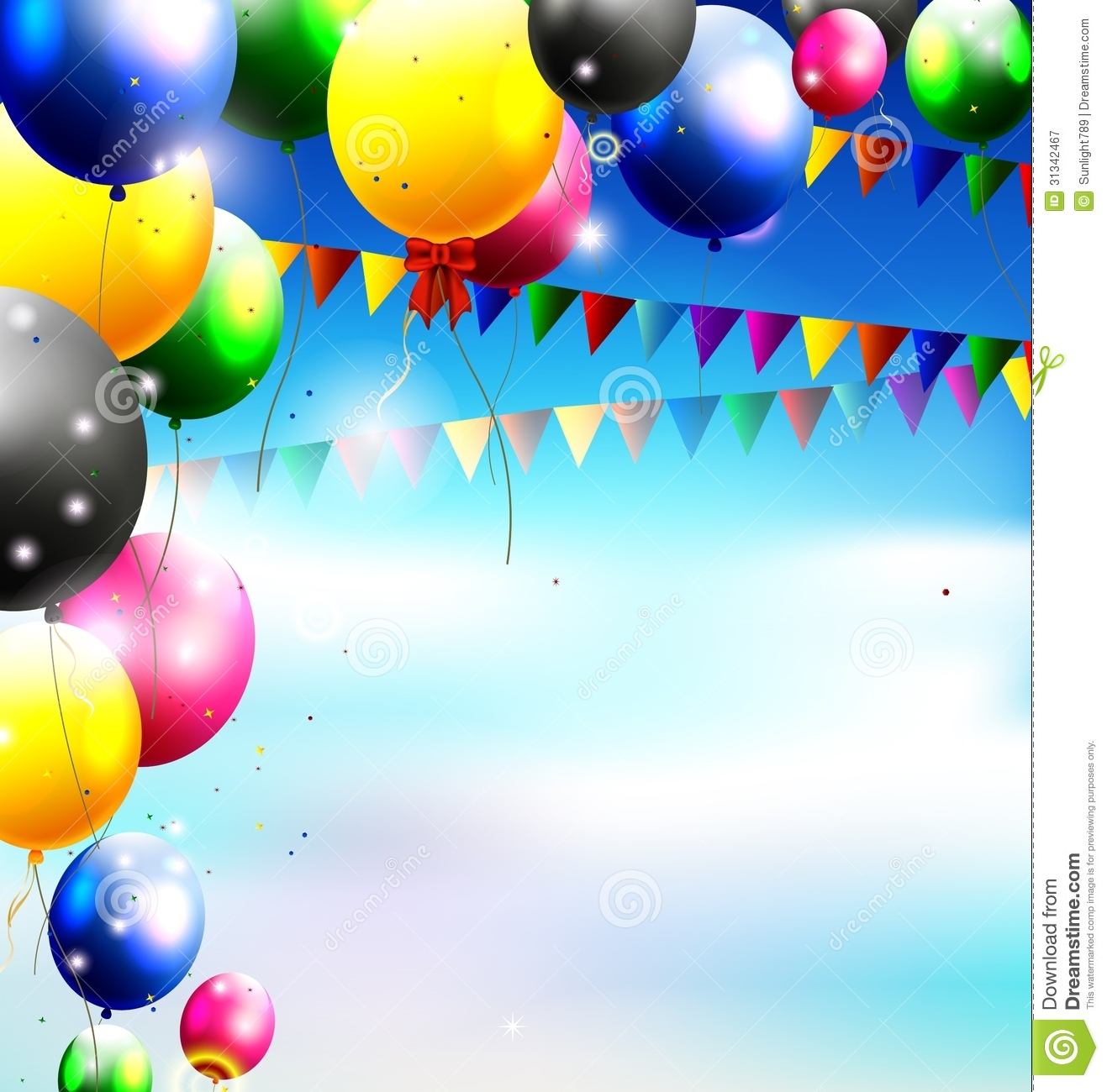 balloons in the sky for birthday background royalty free