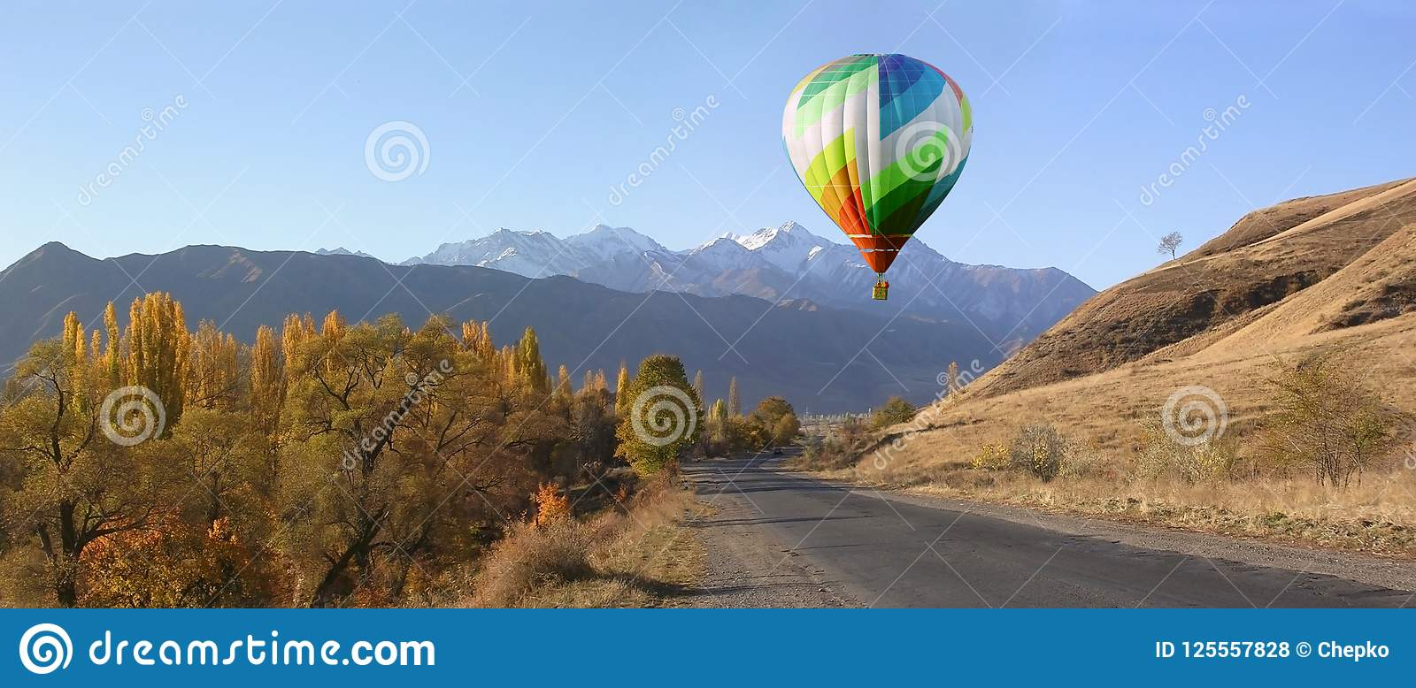 Download Balloons Start Fly On Forest, Hills In Autumn Stock Photo - Image of cloud, orange: 125557828