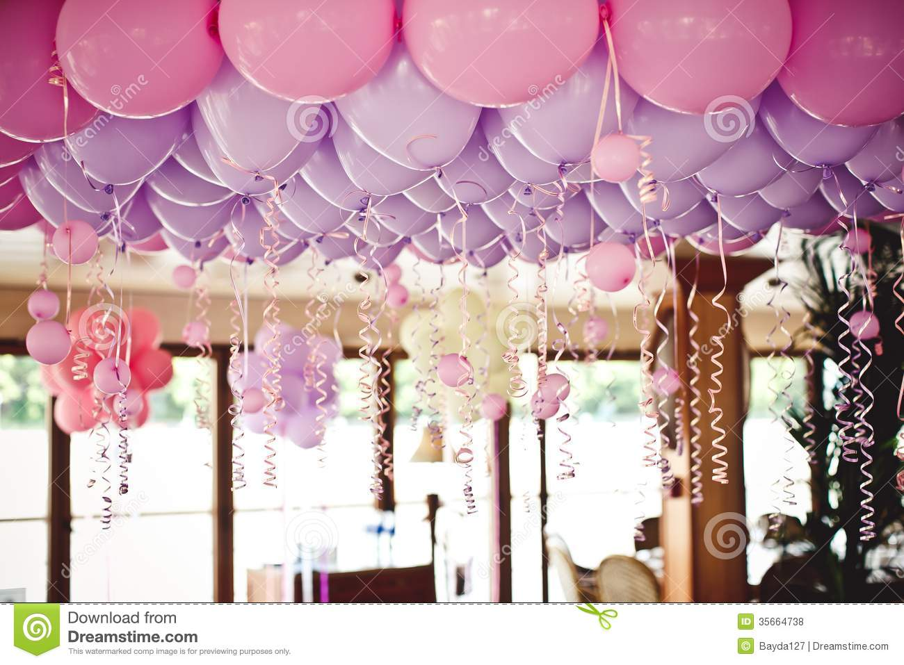 Balloons Under The Ceiling On Wedding Party Royalty Free
