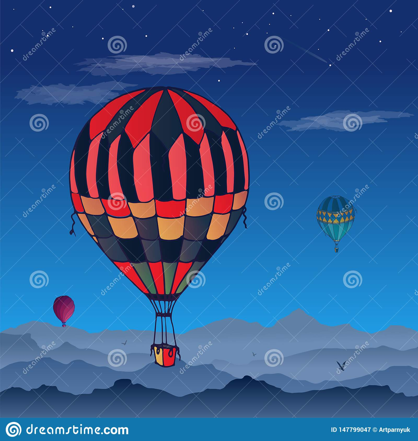 Balloons  card. Some differently colored striped air balloons flying in the clouded night sky. Patterns of clouds and birds