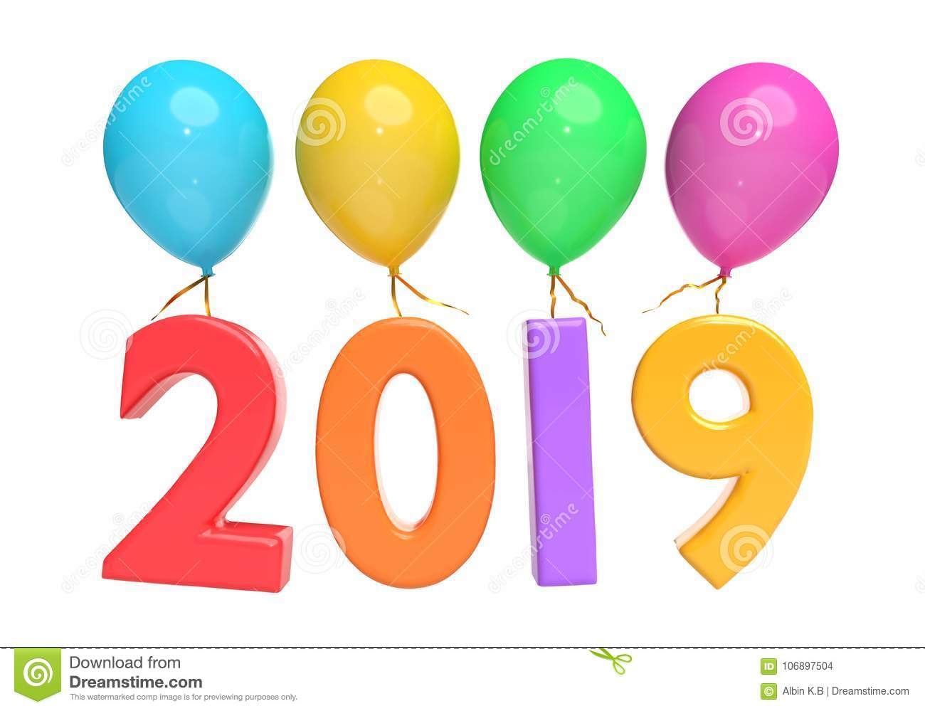 Balloons And Year 2019 3d Rendering Stock Illustration