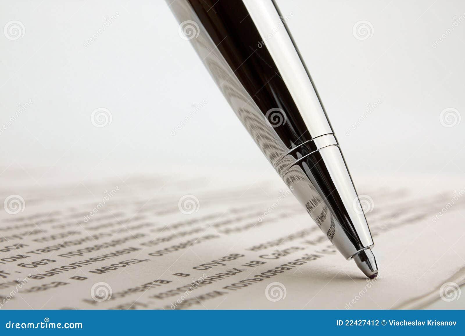 Ballpoint pen on contract