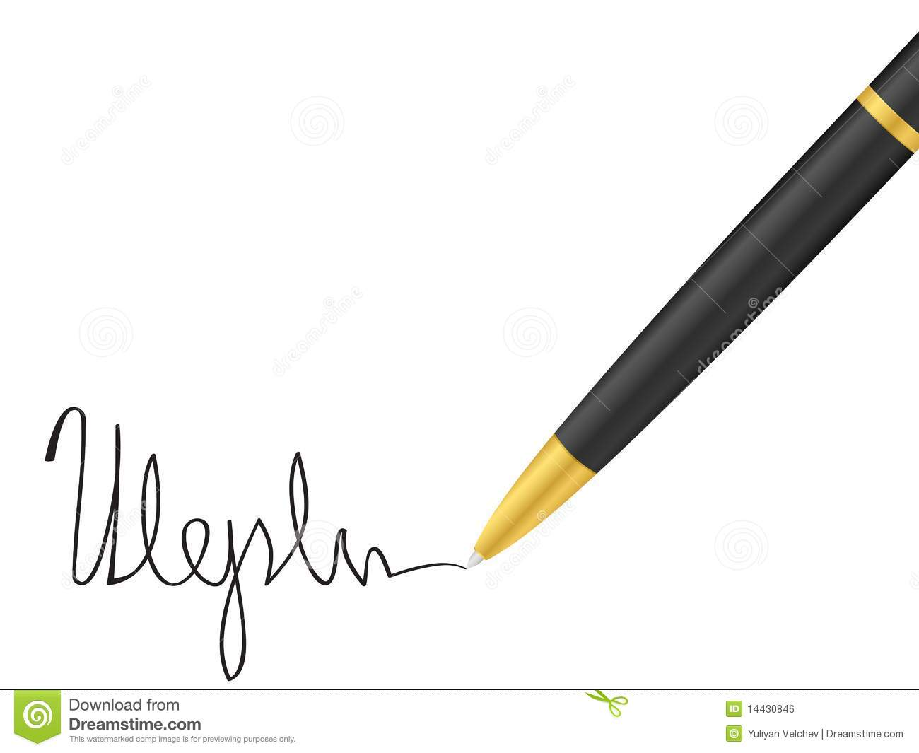 ballpoint pen and signature stock vector image 14430846
