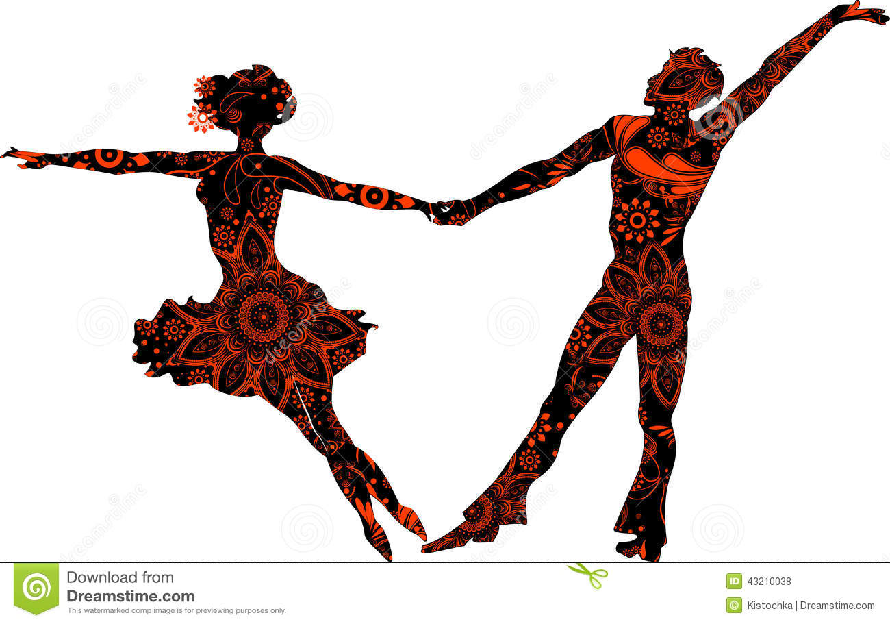 Silhouette Dance Music Abstract Background: Ballroom Couple Stock Vector. Illustration Of Latin