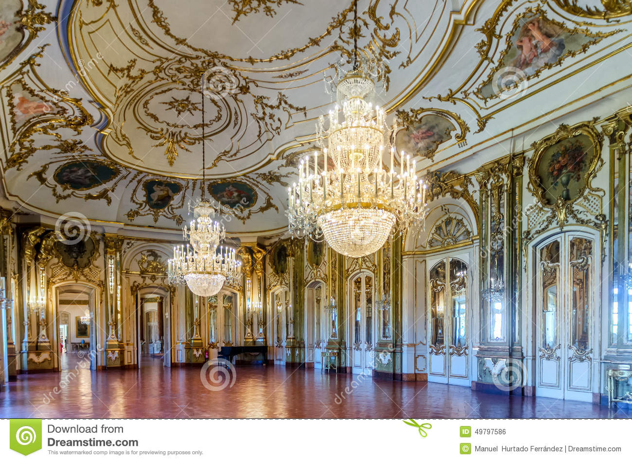 Queluz Portugal  city photos : QUELUZ PORTUGAL AUGUST 24: The Ballroom of Queluz National Palace ...