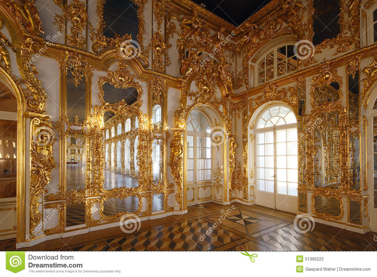 Ballroom At Tsarskoye Selo Pushkin Palace Stock Photo