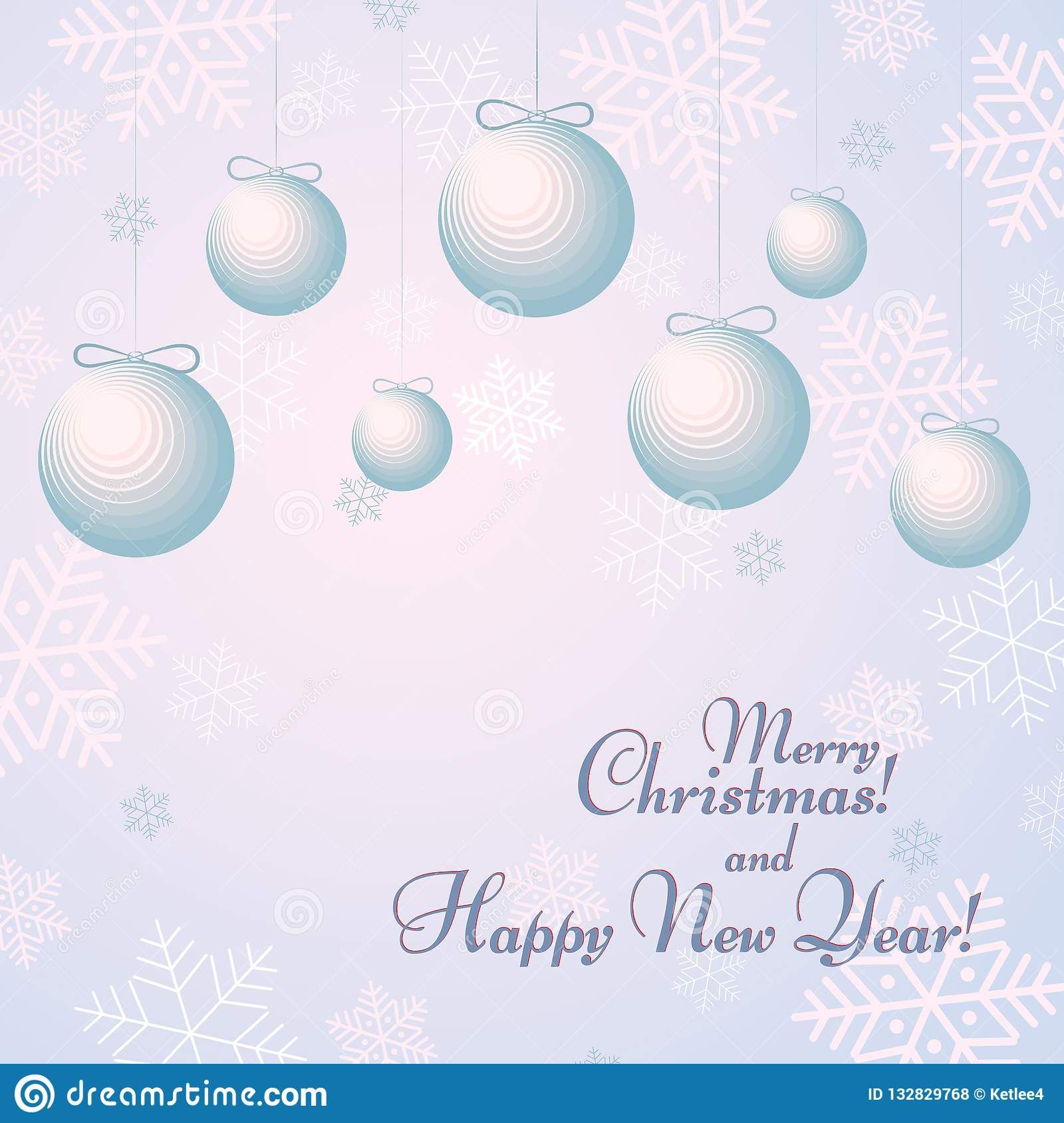 Balls with bows on a background with snowflakes Text Happy New Year and Merry Christmas Winter background
