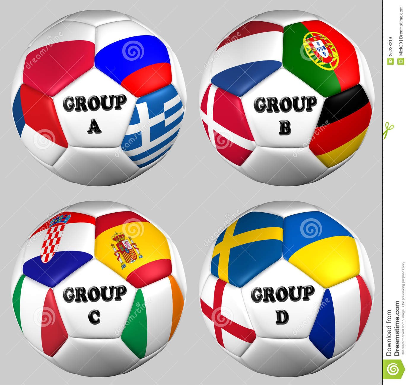Balls flags euro 2012 groups royalty free stock images for Euro 2012 groupe