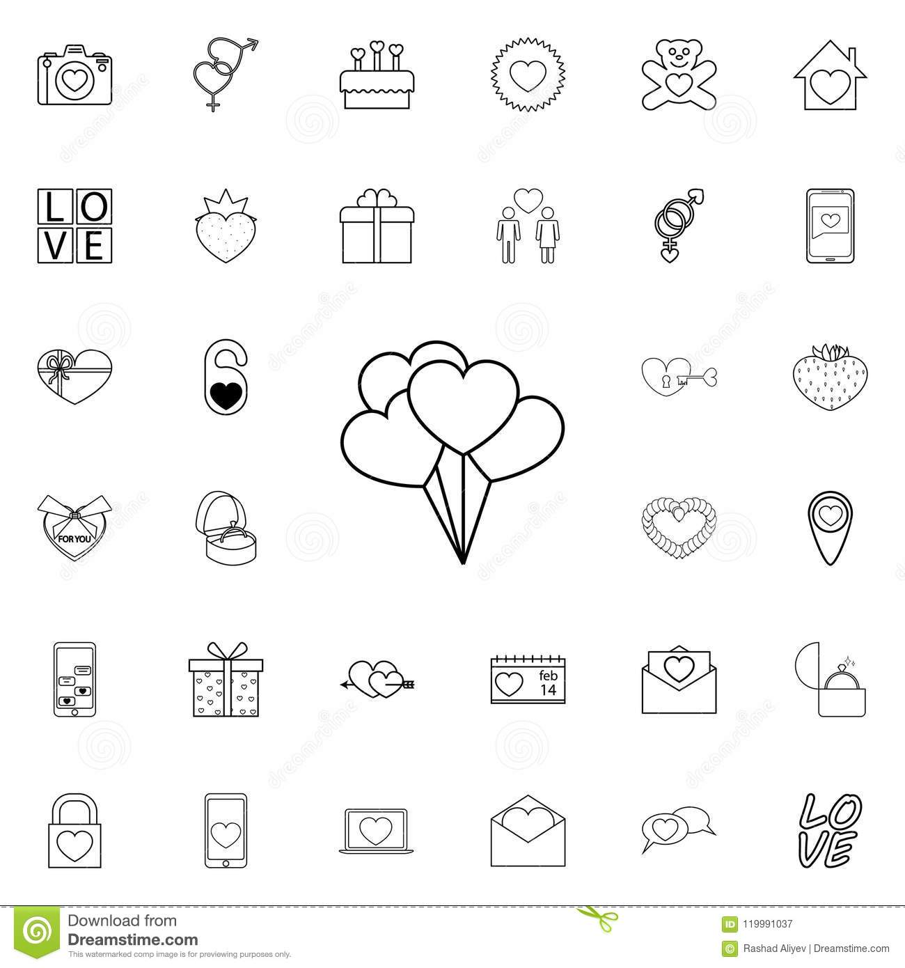Balls In The Form Of Hearts Icon  Detailed Set Of Valentine Icons