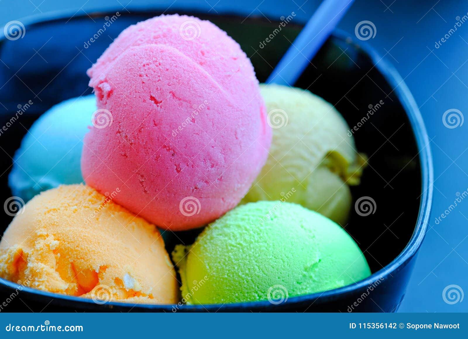 balls of ice cream and sorbet