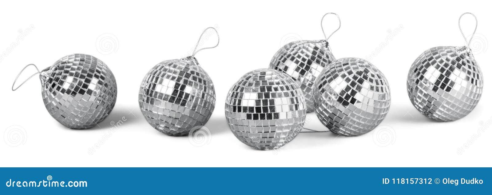 Silver disco mirror balls isolated on white