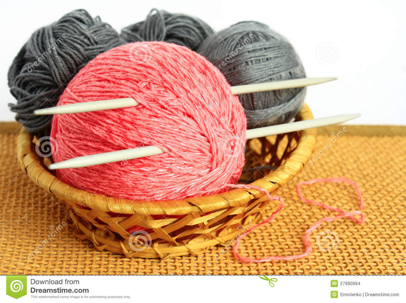 Knitting Needles And Wool : Balls of wool and knitting needles stock images image