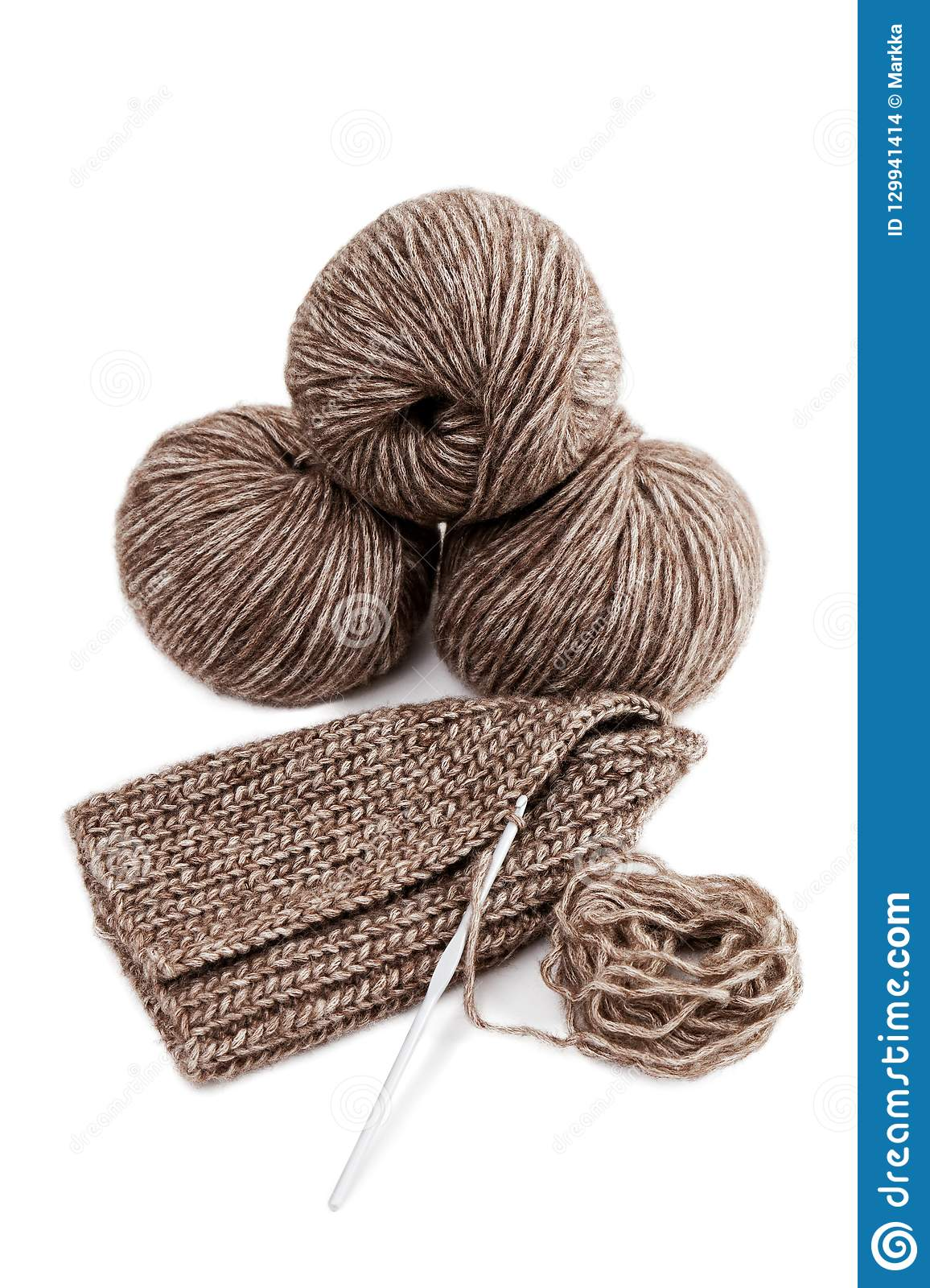 Balls Of Yarn And Knitted Handicrafts Stock Photo Image Of