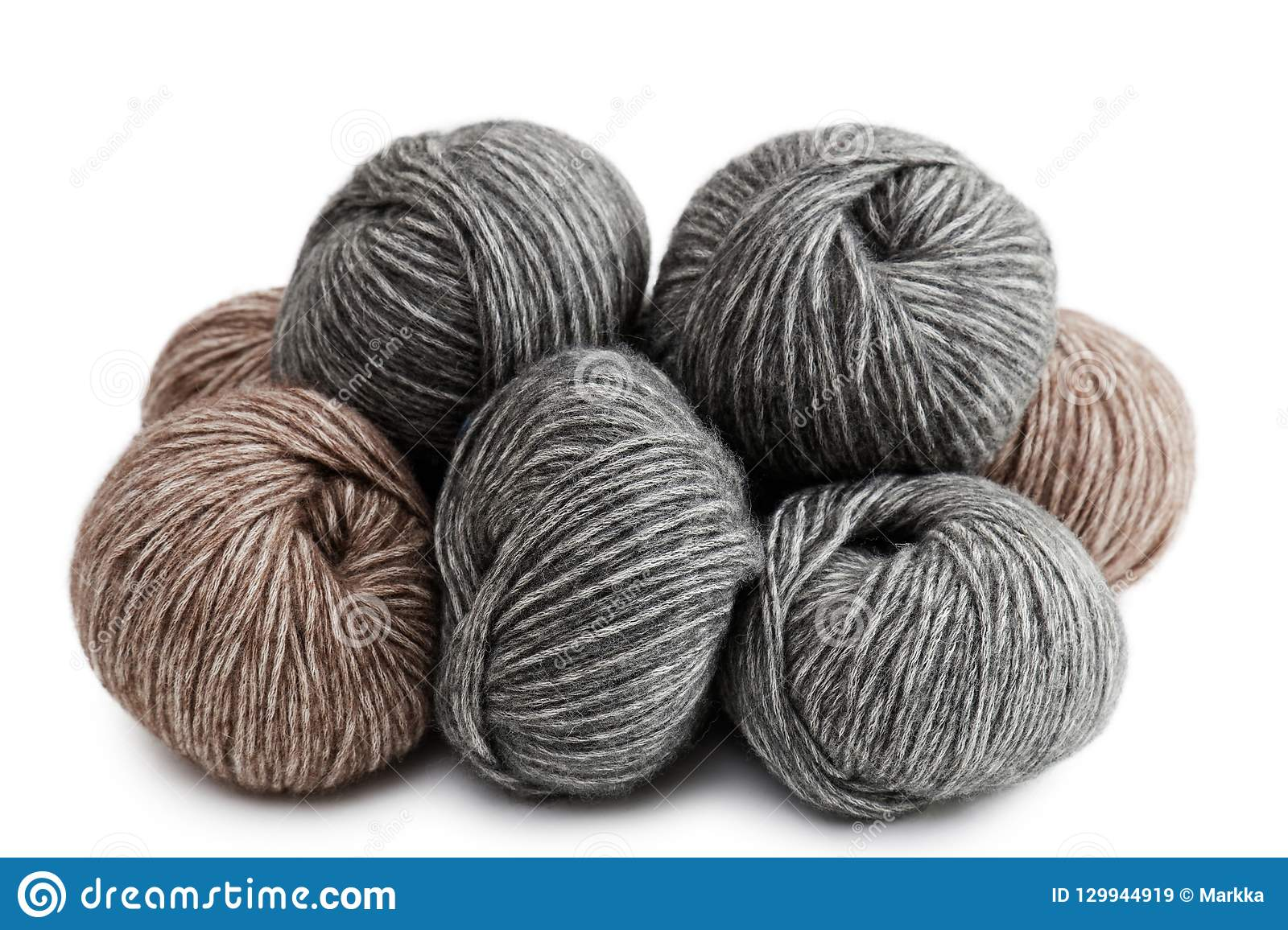 Balls Of Yarn For Knitted Handicrafts Stock Image Image Of Brown