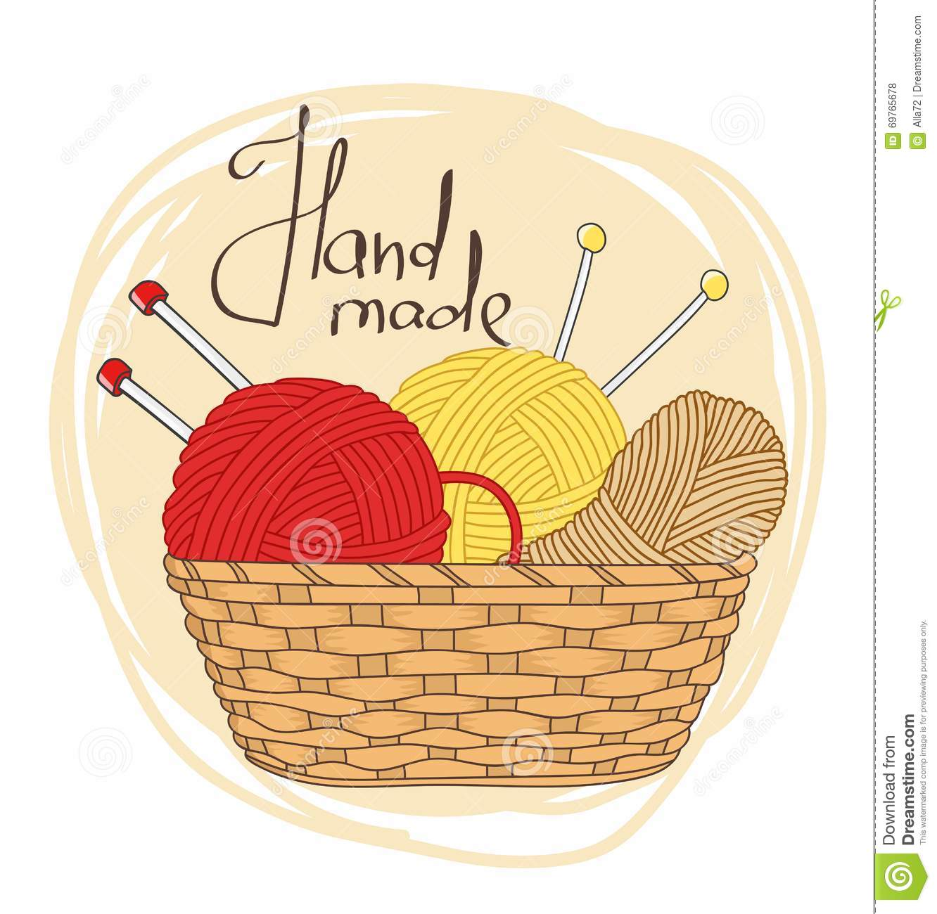 Line Drawing Yarn : Balls of yarn and knitting needles in basket stock vector