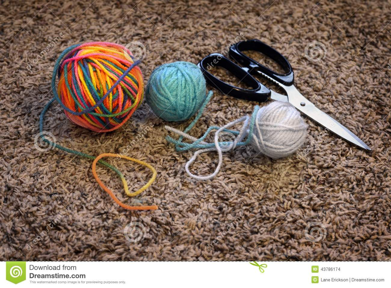 Balls of Yarn and Scissors for Crafts