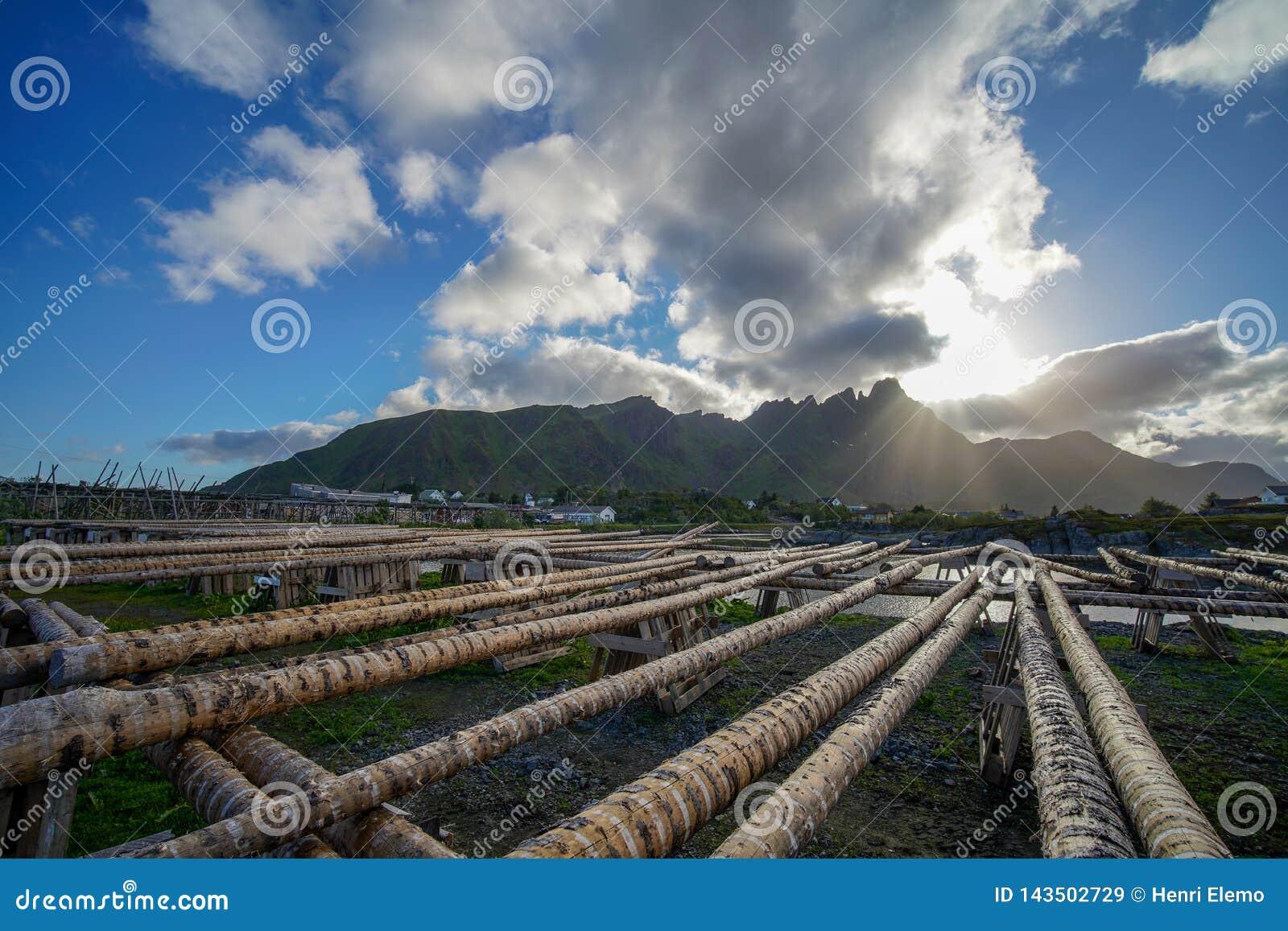 Ballstad, Norvège - 28 juin 2018 : Structure en bois chez Lofoten pour sécher des poissons