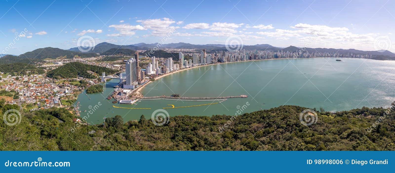 Balneario Camboriu市- Balneario Camboriu,圣卡塔琳娜州,巴西全景鸟瞰图