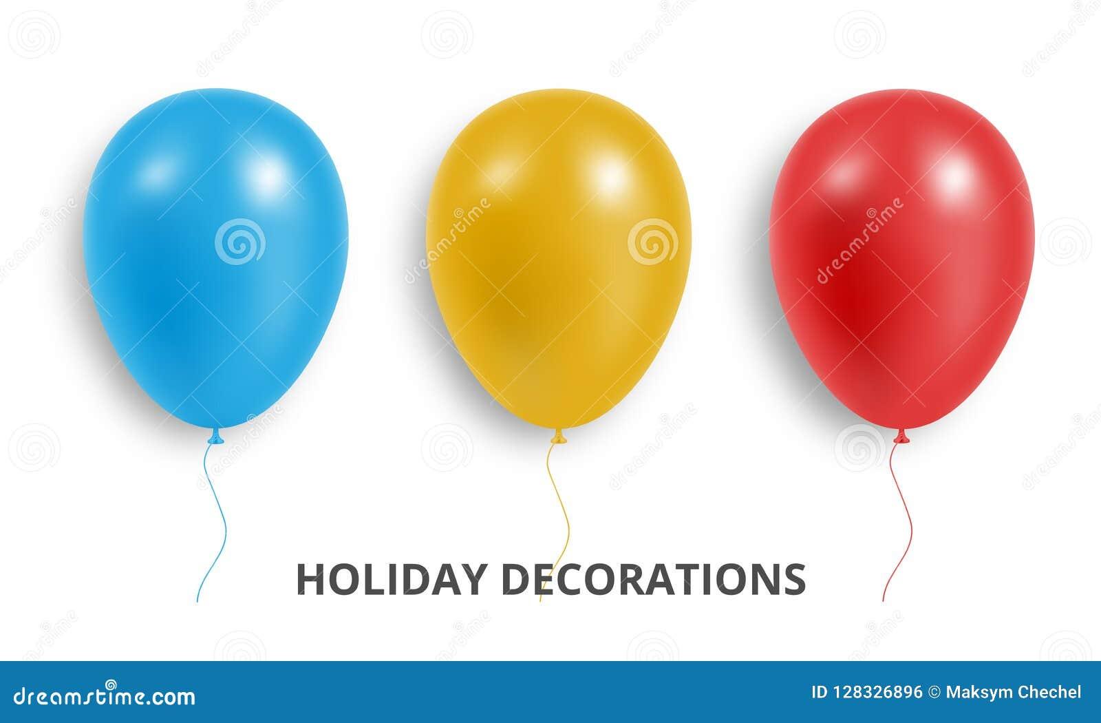 Baloney Комплект реалистических красных, голубых и желтых воздушных шаров Украшения воздушного шара праздника