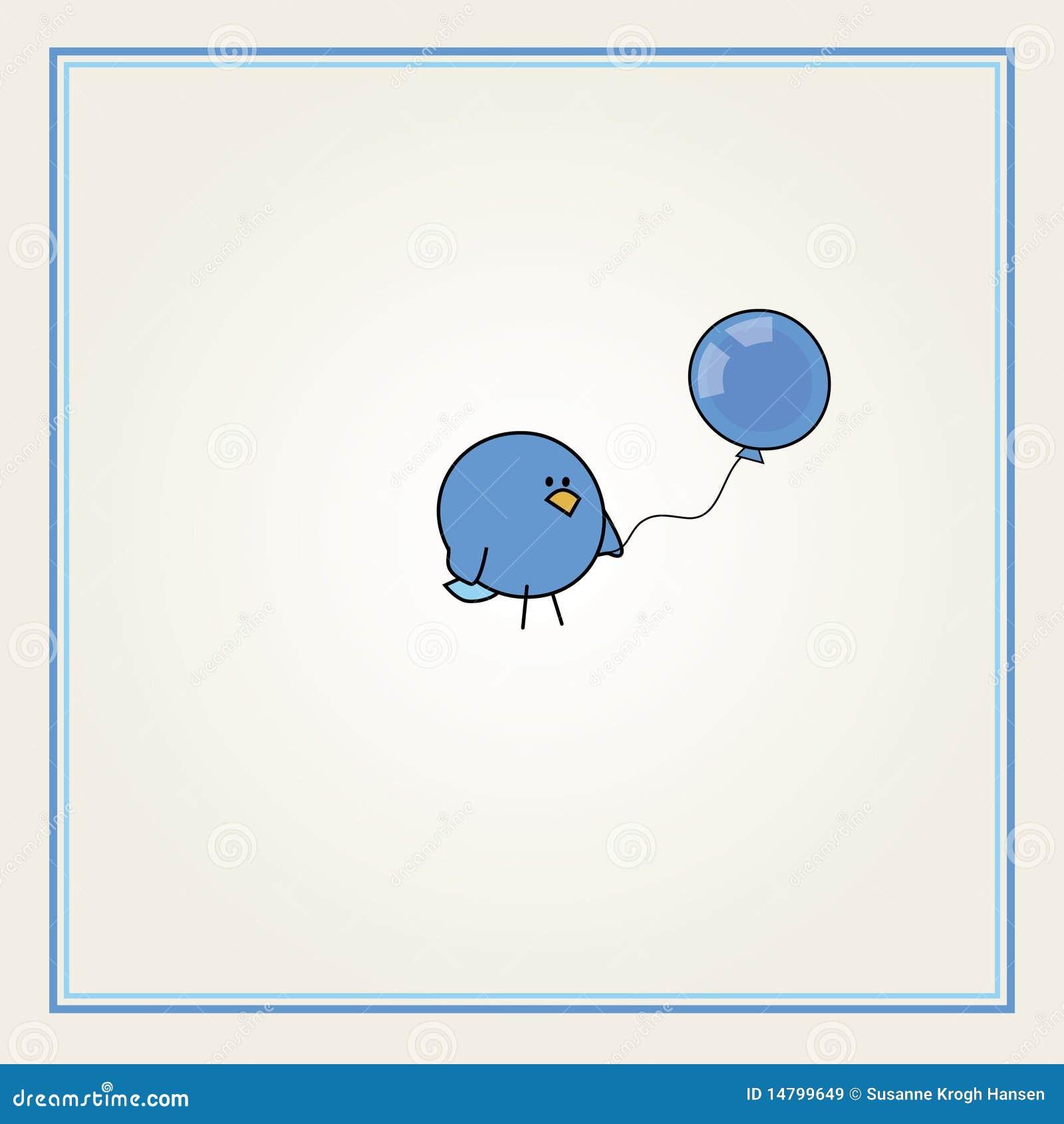 Balonowa ptasia błękitny kreskówka