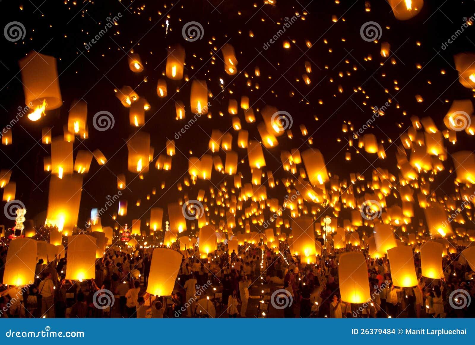 Balonowy Newyear tajlandzki tradycyjny lampion.