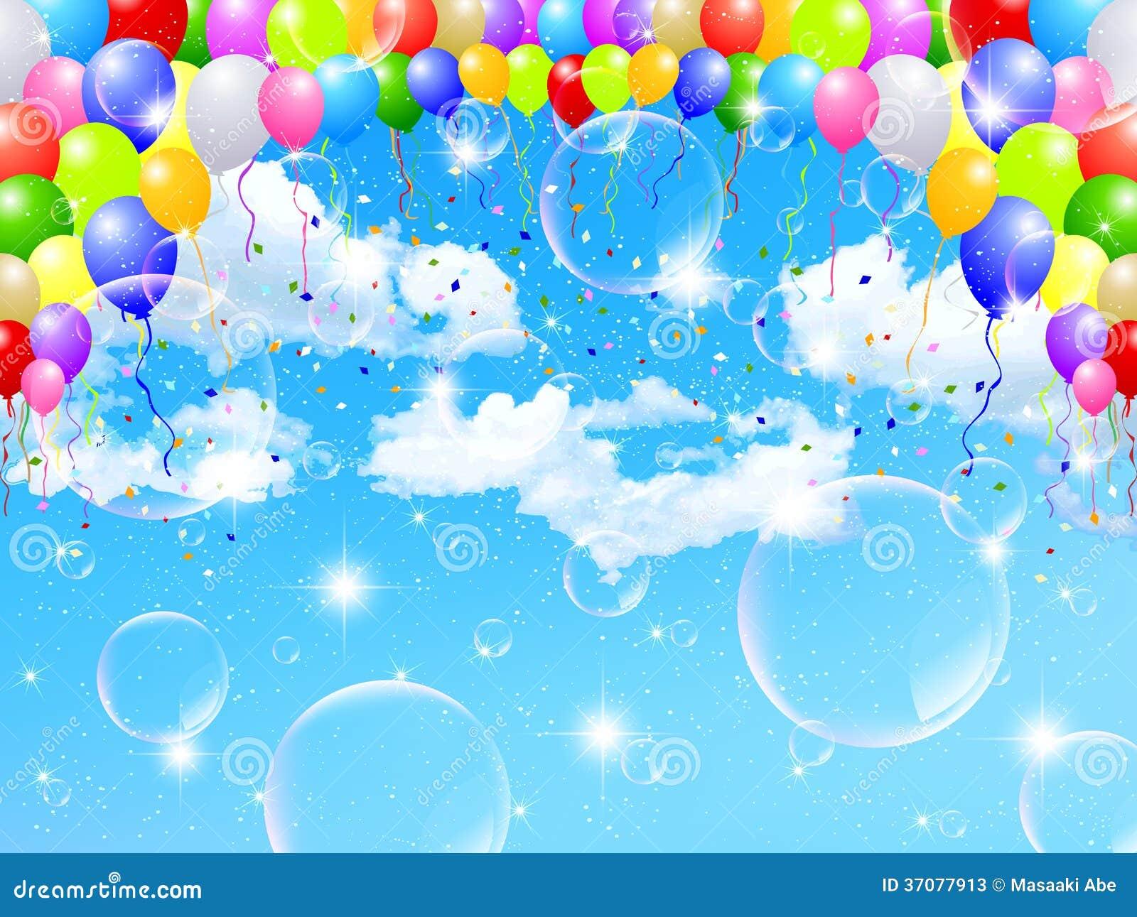 Download Balonowy nieba tło ilustracja wektor. Ilustracja złożonej z akcesoria - 37077913