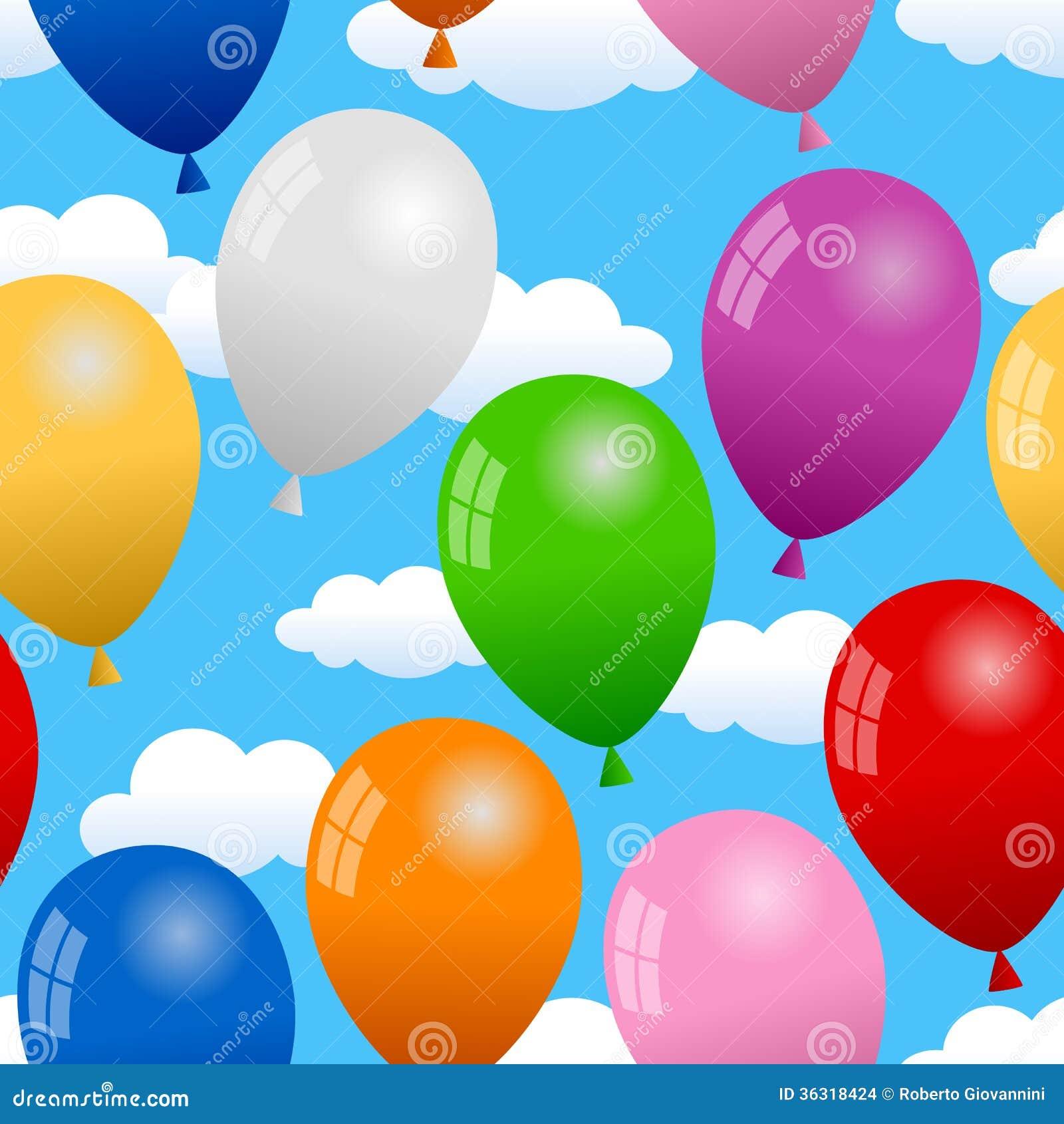 Balony w niebo Bezszwowym wzorze